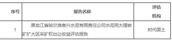 黑龙江一水泥企业关于矿业权出让收益评估报告